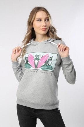 Home Store Sweatshirt Yaprak Desen Pano Baskı Kapişonlu Gri