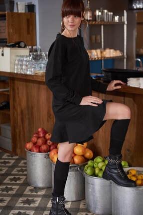 Boutiquen Kadın Siyah Eteği Volanlı Elbise 2053