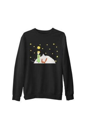 Lord Erkek Siyah Küçük Prens Moon And Back Kalın Sweatshirt