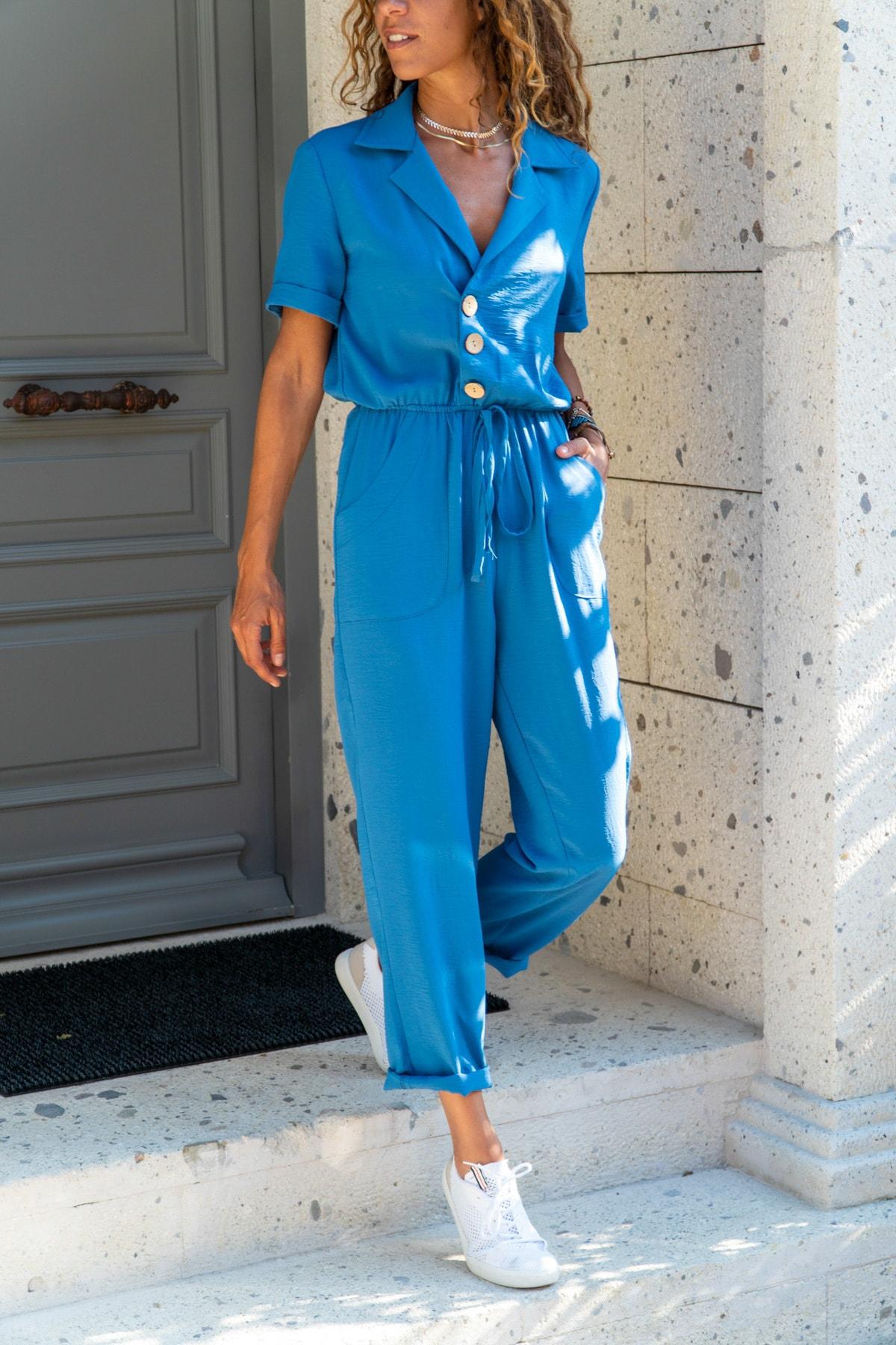 Güneşkızı Kadın İndigo Ceket Yaka Beli Lastikli Airobin Tulum Gk-Bsty2622