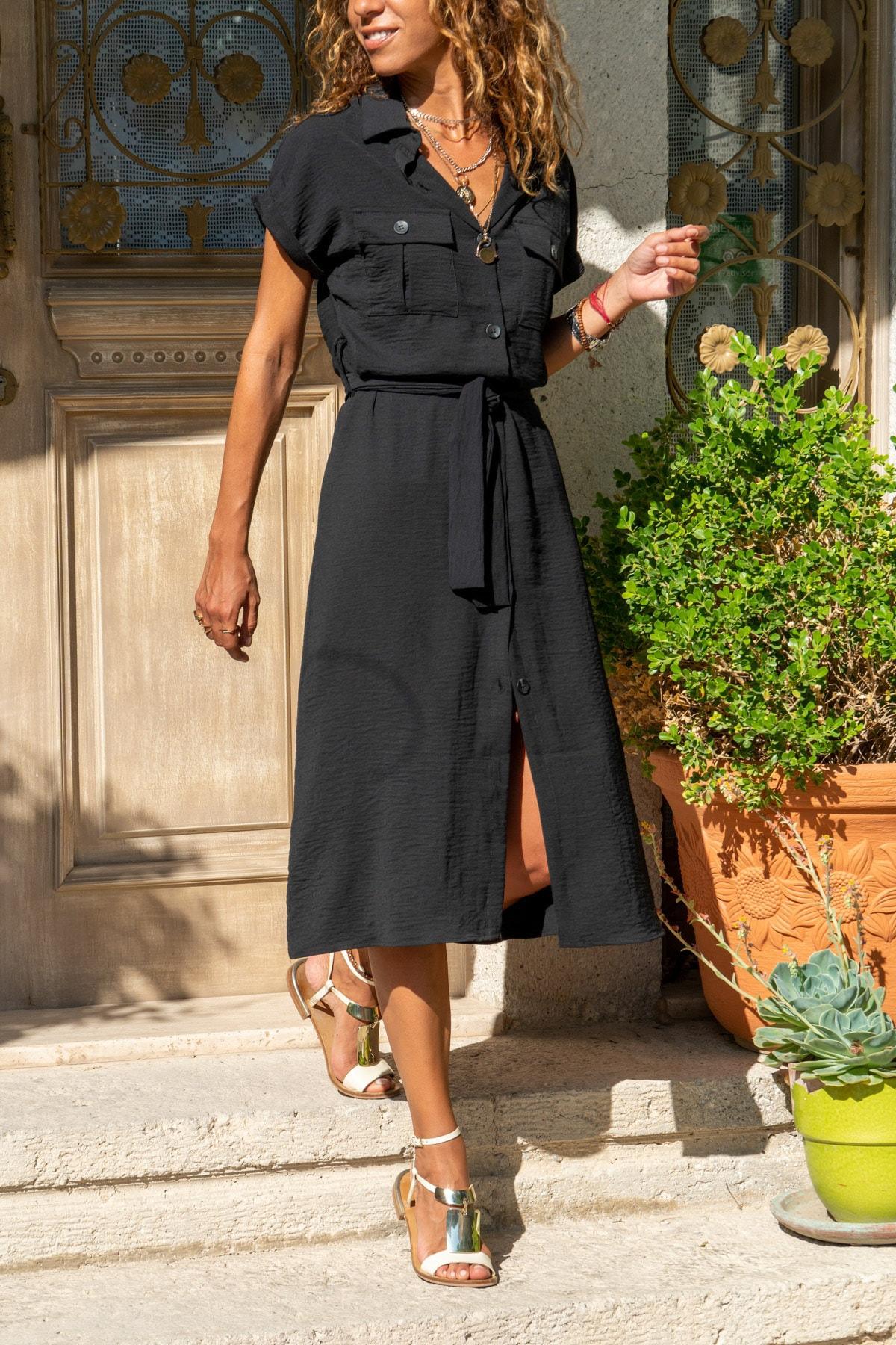 Güneşkızı Kadın Siyah Cepli Kemerli Safari Airobin Elbise GK-BSTK4045