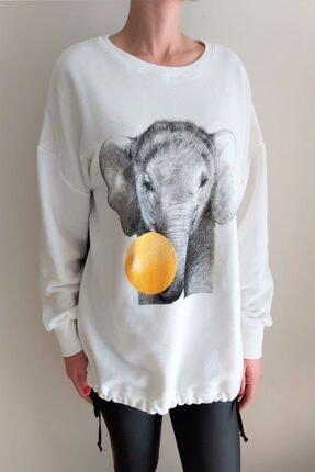 Quzu Kadın Fil Baskılı Sweatshirt