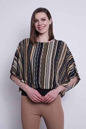 Jument Kadın Haki Desenli Şifon Detaylı Kayık Yaka Yarasa Kol Bluz