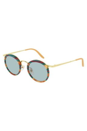Gucci Kadın Güneş Gözlüğü Yuvarlak Kahve Ve Yeşil Renk Çerçeveli Açık Yeşil Lens Uv400