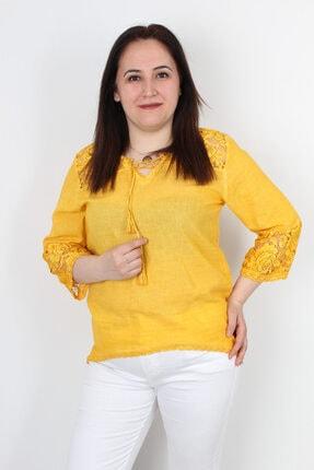 Günay Kadın Bluz Mnsrgüpür Ilkbahar Yaz Kol Omuz Detay Pamuk-sarı