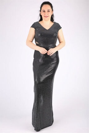 Günay Kadın Abiye Elbise Qsrt9106 Payet-sıyah