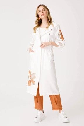 Moda İlgi Kadın Ekru Kapüşonlu Nakışlı Tunik