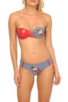 Reflections Kadın Desenli Luxury Dolgusuz Straplez Bikini Takımı L1305BKD 045