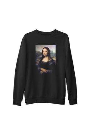 Lord Unisex Siyah Mona Lisa Baskılı Kalın Sweatshirt