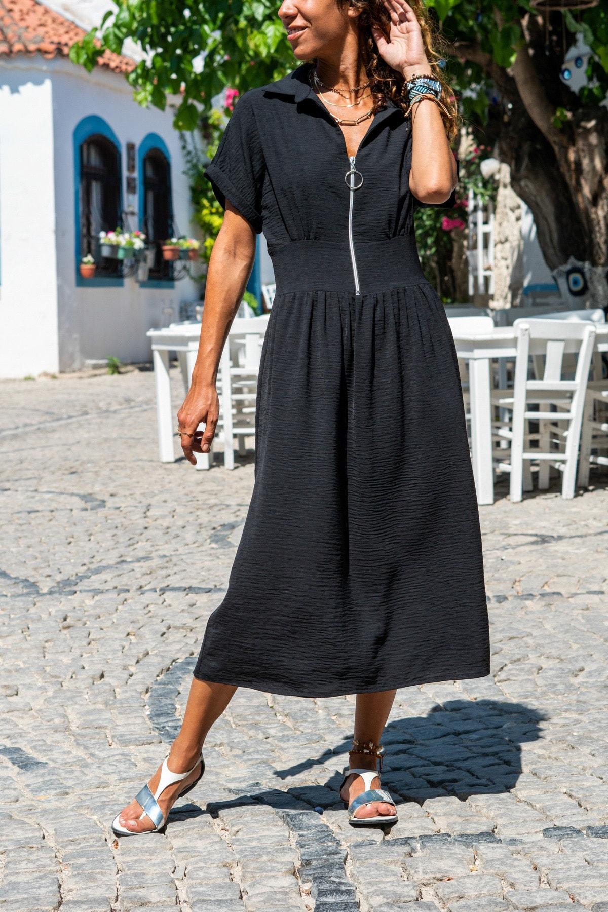 Güneşkızı Kadın Siyah Polo Yaka Fermuarlı Beli Büzgülü Airobin Elbise Gk-Bst2880