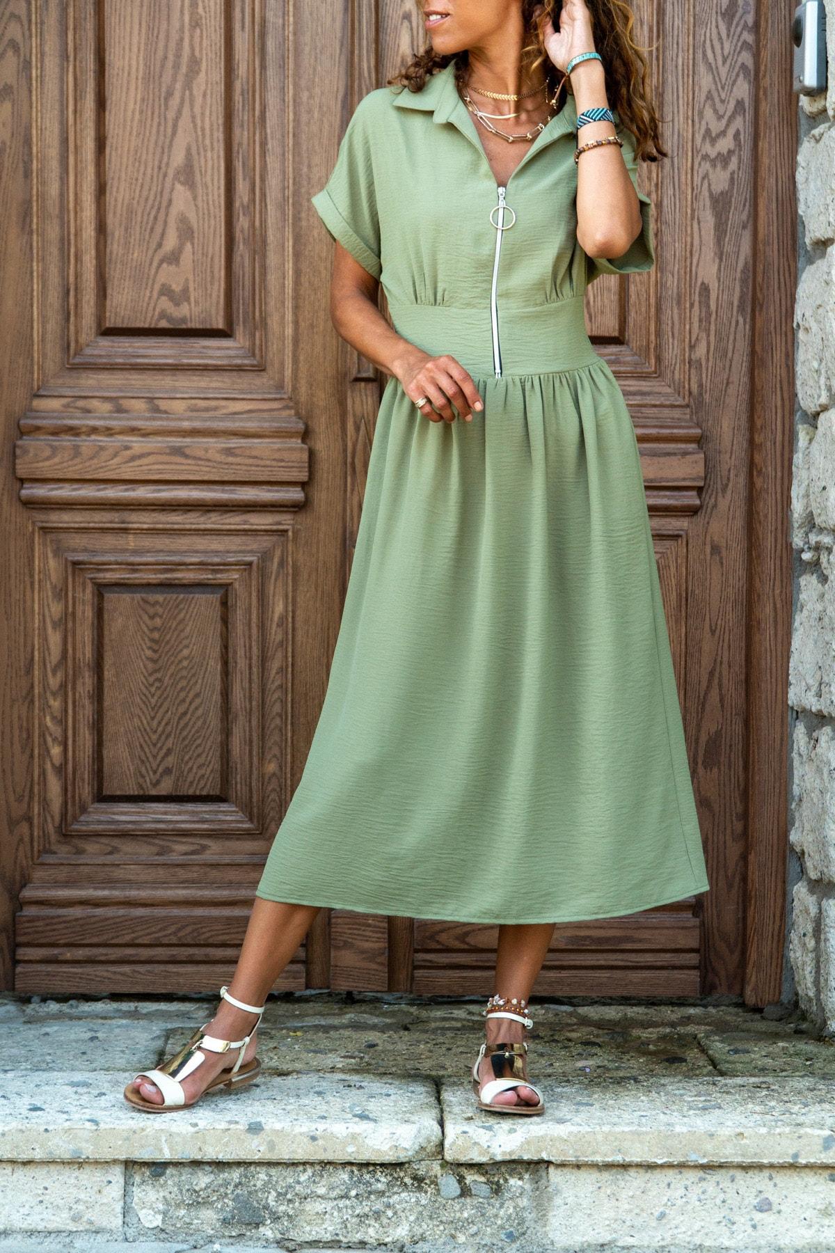 Güneşkızı Kadın Haki Polo Yaka Fermuarlı Beli Büzgülü Airobin Elbise Gk-Bst2880