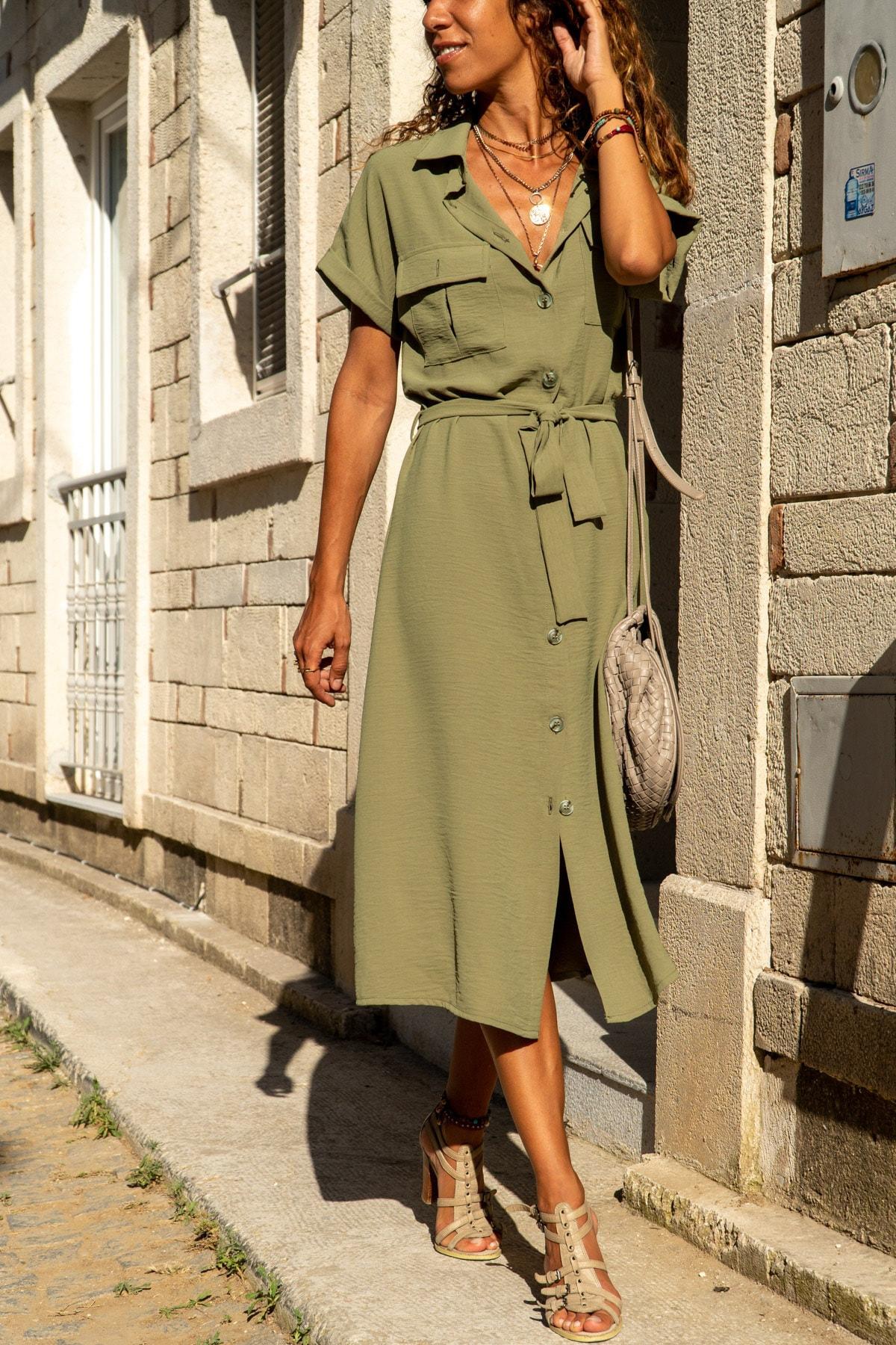 Güneşkızı Kadın Haki Cepli Kemerli Safari Airobin Elbise GK-BSTK4045