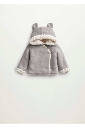Mango Unisex Bebek Gri Kapüşonlu Örgü Palto
