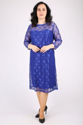 Günay Kadın Abiye Elbise Spl3122 Kısa-saks Mavi