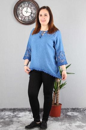 Günay Kadın Bluz Mnsrgüpür O Yaka Dantel Kol Pamuk Otantik-lacivert