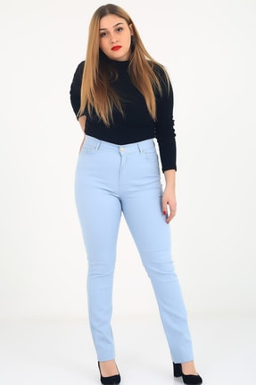 Günay Kadın Pantolon Rg1029p Kanvas Yüksek Bel Düz Paça-mavi