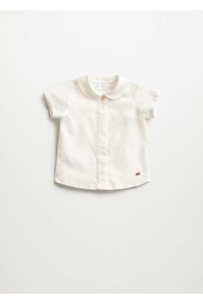 Mango Unisex Bebek Beyaz Kısa Kollu Gömlek