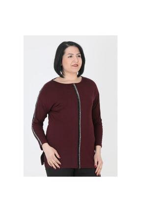 Günay Kadın Bluz Lm93520 Sonbahar Kış O Yaka Sim Detay-bordo