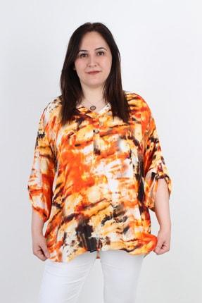 Günay Kadın Bluz Grnd5391 Ilkbahar Yaz V Yaka Düğme Batik-turuncu