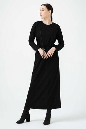 Seçil Kadın Belden Büzgülü Yuvarlak Yaka Elbise 2913542 Siyah