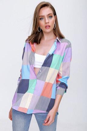 Bigdart Kadın Çok Renkli Ekoseli Poplin Gömlek