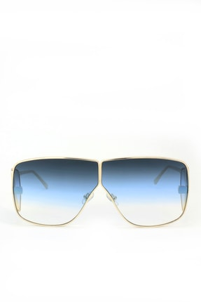 Hane14 Grand Visor Gold Metal Çerçeveli Kare Büyük Unisex Güneş Gözlüğü Degrade Mavi