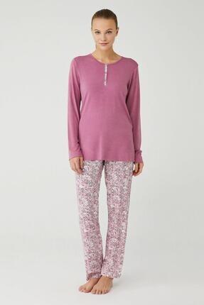Mod Collection Kadın Gül Kurusu Patlı Pijama Takımı