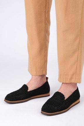 Marjin Kadın Siyah Örgü Hasır Loafer Ayakkabı Toliva