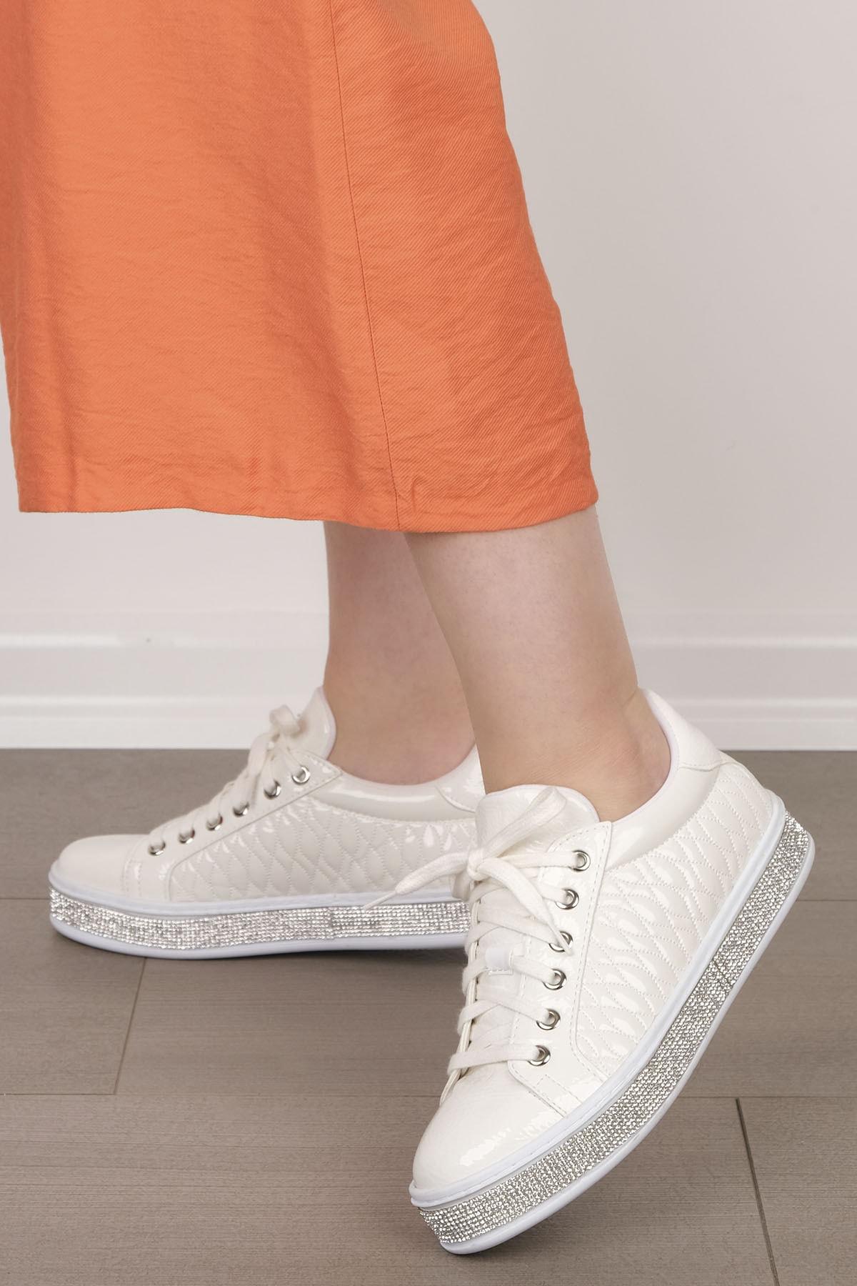 Marjin Kadın Beyaz Sneaker Spor Ayakkabı Anya