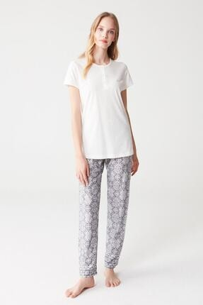 Mod Collection Kadın Ekru Pijama Takımı