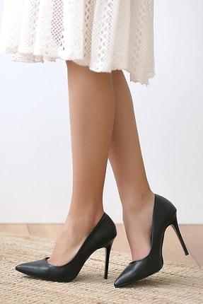 Pembe Potin Siyah Kadın Topuklu Ayakkabı A1770-17