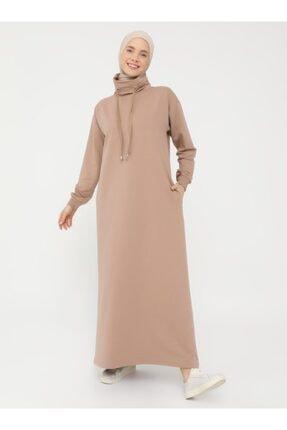 Refka Kadın Kahverengi Boğazlı Yaka Cepli Elbise