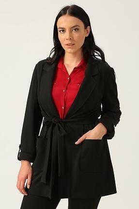 Ekol Kadın Siyah Beli Kuşaklı Torba Cep Ceket 20k.ekl.ckt.06061.1