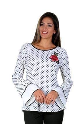 Moda İlgi Kadın Beyaz Puantiyeli Bluz