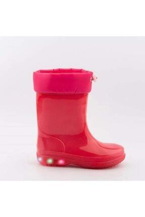 Akınalbella Kız Çocuk Kırmızı Sıcak Astar Yağmurluk Işıklı Çizme