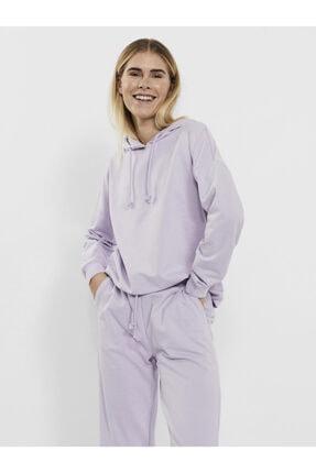 Vero Moda Kadın Mor Omuzları Düşük Kapüşonlu Sweatshirt 10252958 Vmoctavıa