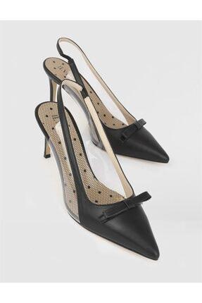 İlvi Kadın Siyah Hakiki Deri Topuklu Sandalet