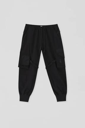 Pull & Bear Kadın Siyah Stwd Kargo Pantolon