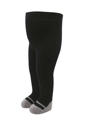 Bibaby Unisex Bebek Lacivert Babet Desenli Havlu Külotlu Çorap