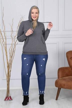 Günay Kadın Sweatshirt Rg6831 Kapüşon Yaka Kanguru Cep Spor-füme