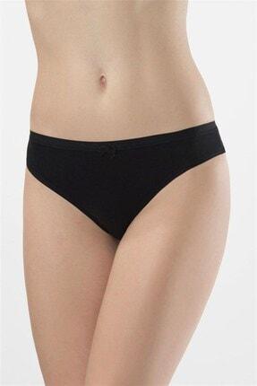 TÜREN Kadın Siyah Likralı Dantelli Bikini Külot 2'li  958