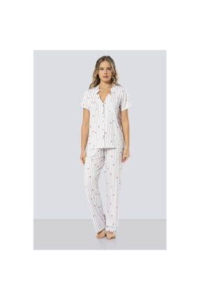 TÜREN Kadın  Çizgili Kadın Pijama Takımı - Gri 3300