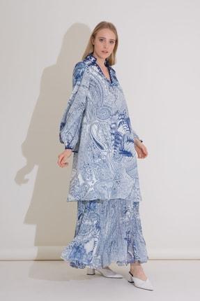 Gizia Işleme Detaylı Desenli Rahat Mavi Uzun Elbise