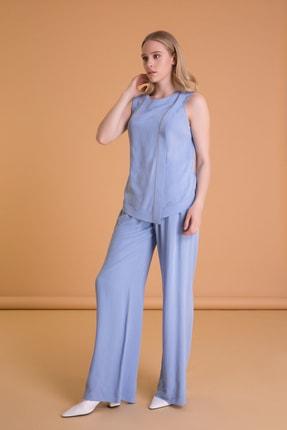 Gizia Dikiş Detaylı Sırt V Yaka Kolsuz Mavi Bluz