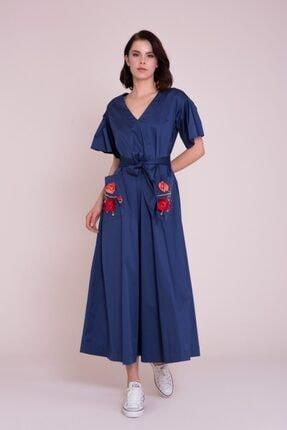 Gizia Püskül Nakışlı Lacivert Maxi Elbise