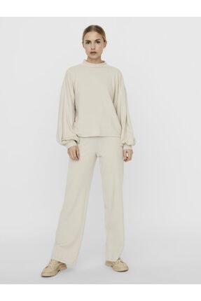 Vero Moda Kadın Gri Kolları Volümlü Dik Yaka Bluz 10250197