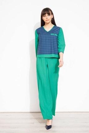 Moda İlgi Kadın Yeşil Viskon Dokuma Pantolon