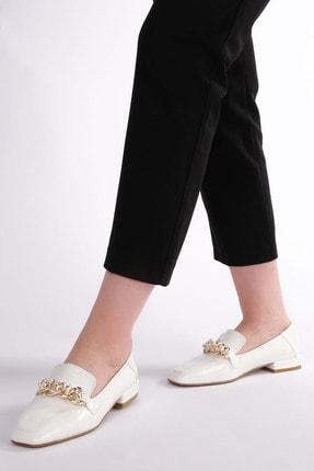 Marjin Kadın Beyaz Rugan Loafer Ayakkabı Bifan