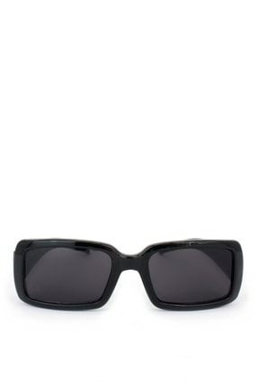 Hane14 Radiant Siyah Camlı Büyük Dikdörtgen Güneş Gözlüğü Siyah
