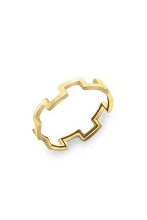 Myra Gold Geometrik Desenli Altın Yüzük